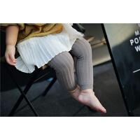 儿童打底裤春秋竖条纯棉精梳棉婴儿宝宝女童连体袜子九分裤子