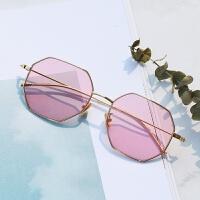 201808272235549272018新款变色眼镜女镜韩版潮平光有度数多边形眼镜框太阳镜男防紫外线