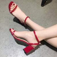 学生港味chic复古粗跟高跟鞋凉鞋女夏季新款韩版百搭仙女鞋子