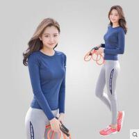 户外运动套装秋冬紧身弹力速干健身衣裤套装显瘦跑步健身瑜伽服运动长袖T恤女