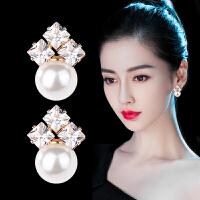 纯银贝珠优雅时尚百搭潮人气质简约个性耳钉耳环耳饰品女