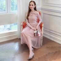 欧洲站女装春新款蝴蝶结修身针织衫+钉珠网纱裙时尚套装