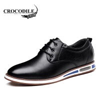 鳄鱼恤休闲鞋潮流商务休闲皮鞋系带低帮鞋百搭舒适男鞋