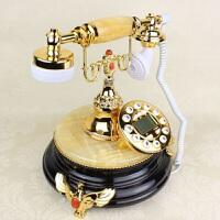 欧式仿古电话美式黄玉黑底来电显示电话机时尚复古电话机时尚创意复古电话机 固定电话欧式家用