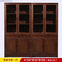 家具 全鸡翅木书房玻璃书柜组合 仿古中式实木落地书架书橱柜 0.8-1米宽