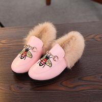 2017新款儿童棉鞋女童秋豆豆鞋宝宝鞋子韩版加绒兔毛毛鞋二棉潮 粉