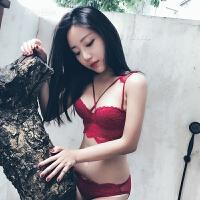 性感小杯内衣女无钢圈小胸聚拢调整型胸罩交叉细肩带文胸 酒红 套装