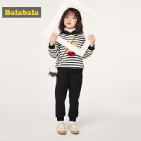 巴拉巴拉童装女童秋冬2019新款套装宝宝小童儿童加绒连帽两件套厚