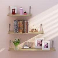 墙上置物架简约现代搁板客厅壁挂创意墙壁一字隔板卧室书架免打孔 新款三件套胡桃色