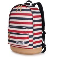 条纹双肩包女学院风休闲背包书包中学生男电脑包旅行 图片色