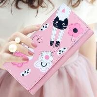 钱包女长款2018女士钱包日韩版可爱卡通猫咪拉链学生潮钱夹零钱包