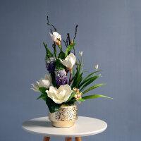 玉兰花仿真花混合式套装摆件 中式田园家居客厅装饰假花盆栽摆设