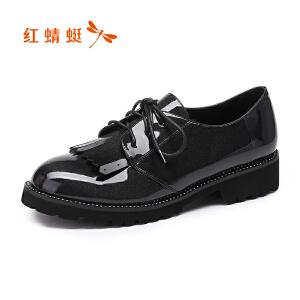 红蜻蜓女单鞋2017正品秋季新款粗跟高跟舒适女鞋细带亮面女鞋