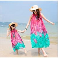女童亲子装连衣裙度假女孩夏雪纺海边沙滩裙中大长裙 玫红色 玫红色普通版 170cm(妈妈XL码)