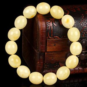 蜜蜡白花蜡枣珠手串 直径12mm 重量15.90g