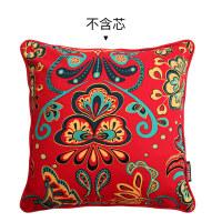 家居婚庆抱枕靠垫套现代中式红木沙发床头靠枕全棉红色色