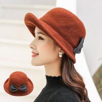 女士羊毛呢盆帽 新款渔夫帽女士百搭礼帽贝雷帽 韩版潮时尚纯色帽子女