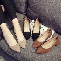 复古方头中跟女士单鞋 韩版百搭粗跟高跟鞋女 新款性感高跟鞋 职业OL工作女鞋
