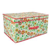 优芬大号三色花60*40*30CM有盖覆膜防水衣服收纳箱 72升被子棉被储物箱整理箱 衣物收纳盒