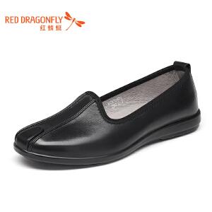 红蜻蜓皮鞋 2017年春秋新款单鞋日常休闲鞋办公室驾车鞋僧侣鞋男
