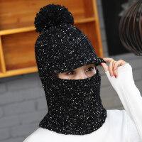 韩版加绒针织毛线帽子女 新款女士休闲百搭遮脸帽子 户外套头保暖护耳围巾