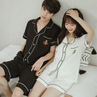 情侣睡衣女夏季纯棉短袖宽松甜美新款学生清新休闲韩版男士家居服