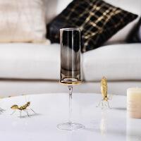 香槟杯电镀金边金色玻璃水杯创意红酒杯香槟杯家用葡萄高脚杯杯子