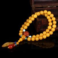 蜜蜡满蜡创意DIY绕2圈圆珠手链 配南红回纹珠