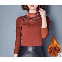 女士秋冬新款修身小衫高领大码网纱上衣加绒加厚蕾丝打底衫女长袖