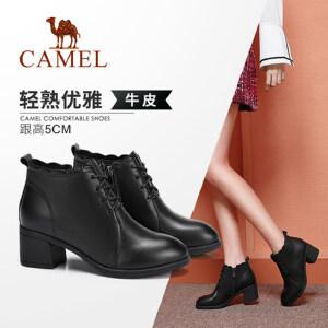 Camel/骆驼女鞋2018冬季新款 时尚潮流优雅气质职场短筒女靴