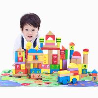 【当当自营】木玩世家100粒大块木制积木玩具带地垫升级版 1-3岁儿童宝宝益智早教玩具 EB002+