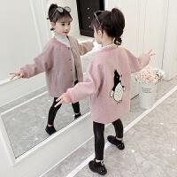 童装2018冬季新款女童卡通企鹅呢大衣儿童保暖上衣宝宝加厚外套