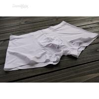 男士内裤中低腰平角四角裤牛奶丝一片式无痕透气纯色春夏冰丝大码