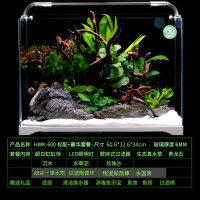 家用水族箱超白玻璃超白玻璃鱼缸客厅桌面小型生态造景草缸懒人家用金鱼缸水族箱 HWK-600P 标配+豪华套餐