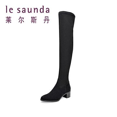 莱尔斯丹秋冬长筒靴粗跟高跟瘦腿弹力靴过膝长靴59903P 秋冬长筒靴粗跟高跟过膝长靴