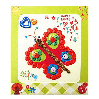 梦童工坊 diy纽扣画 儿童手工制作钮扣子幼儿园粘贴画装饰画玩具_蝴蝶