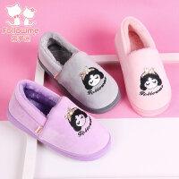 富罗迷儿童棉拖鞋包跟棉鞋秋冬季宝宝室内家居防滑套脚女童保暖鞋