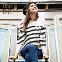 【2件6折,叠加券】OSA欧莎女装2016冬装新款经典条纹长袖毛针织衫D14104