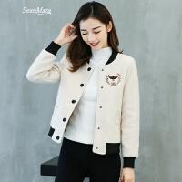 夹克外套女短款毛呢上衣刺绣春装2018新款女装韩版立领呢子棒球服