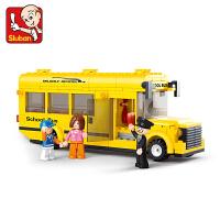 新款快乐小鲁班创意拼插积木益智积木城市巴士塑料拼装儿童玩具