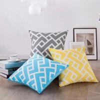 LOVO家纺 简约时尚条纹抱枕套靠垫套不含芯 简单生活系列靠垫套