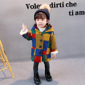 百槿 冬季女童呢子连帽加厚加绒格子毛球外套 中小童加厚加绒连帽毛球呢子外套