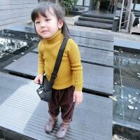 男女童黑色高领毛衣套头季新款紧身纯棉小童宝宝打底毛衣针织衫
