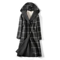 秋冬新款格子羊毛大衣新款�p面羊�q毛呢子大衣女中�L款羊毛外套
