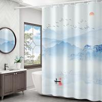 浴间浴帘杆套装免打孔淋浴房隔断帘防水布卫生间挂帘厕所门帘