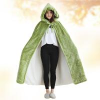 可穿式毛毯冬季双层加厚长款珊瑚绒披风学生午睡懒人披肩毯子斗篷 均码(120X230cm)双层加厚