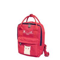 日系帆布双肩包女学院风中学生书包夜光猫印花大容量背包