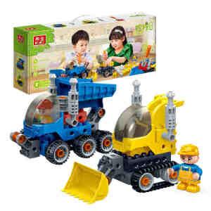 【当当自营】邦宝大颗粒益智拼装积木玩具拧拧梦工场二合一工程车套装BB9701