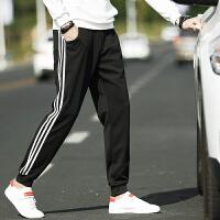 男士三条杠运动小裤男士宽松长裤卫裤休闲裤男条纹跑步裤子潮K8015