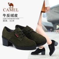 camel骆驼秋冬新品女鞋绒面粗跟英伦单鞋牛反绒皮深口鞋子女